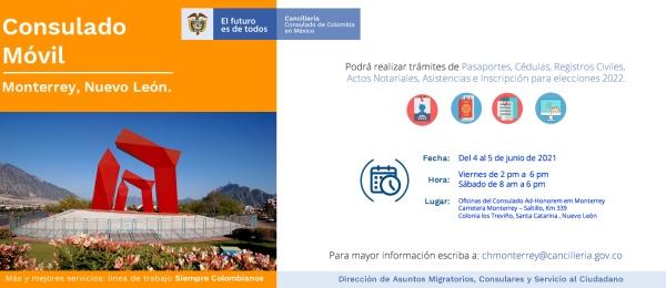 El Consulado General de Colombia en México realizará una jornada de Consulado Móvil en Monterrey
